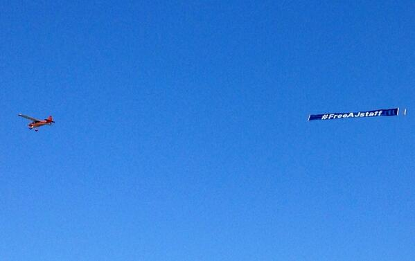 This is flying over Rio de Janeiro now. #FreeAJstaff http://t.co/6enNOgtD0a
