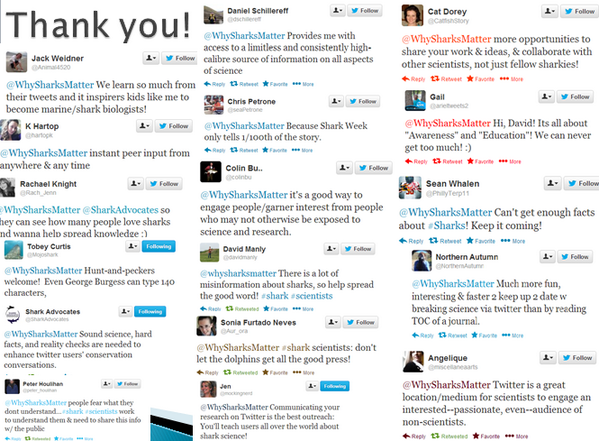 My thank-you slide at a conference talk was messages from my followers to shark scientists #SCio14 #ScioSociety http://t.co/XUSPb9Zxwu
