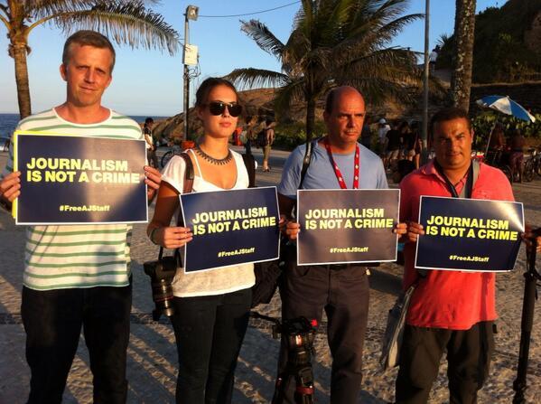Shoulder to shoulder in Rio de Janeiro #FreeAJStaff http://t.co/n6F6LNe55Z
