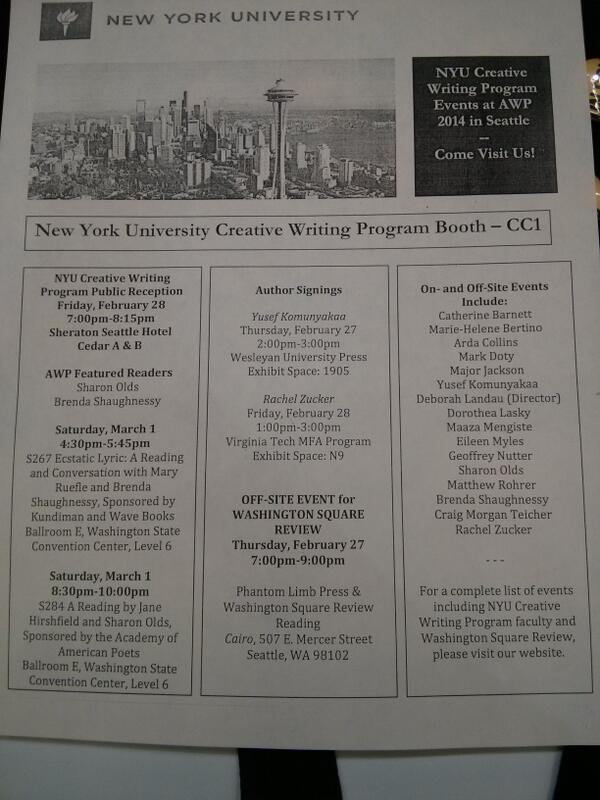 NYU Creative Writing on Twitter: