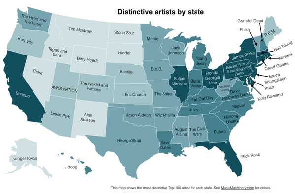 US: une cartographie des artistes les plus écoutés dans les 50 états http://t.co/0SXqXzcU4J via @hypebot http://t.co/agmwiWxUVn