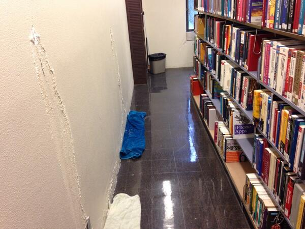 The rain in the library falls mostly in Dewey 100s. And media center. And 3rd floor. And, well, everywhere. http://t.co/iVT6AUPvuK
