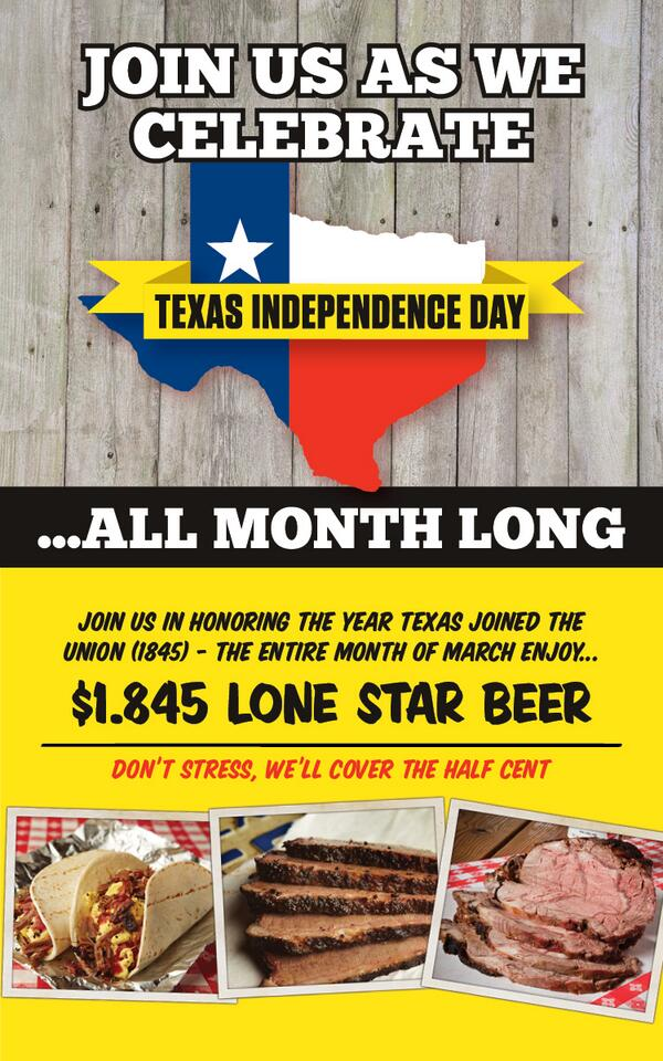 Because Texas is too awesome to celebrate Texas Independence for only a day. #comeandtakeit #lonestarbeer #rudysbbq http://t.co/8EgoqCPfTZ