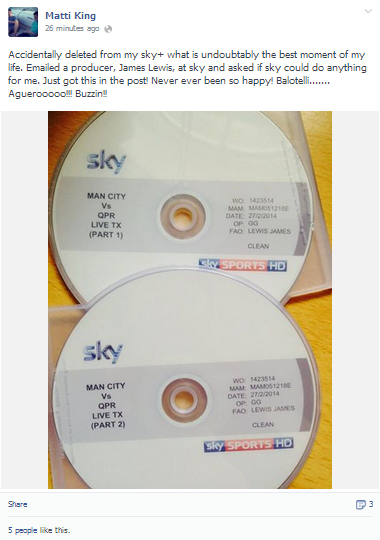 Manchester City fan receives DVD of Citys 2011/12 epic season finale from Sky after accidentally deleting