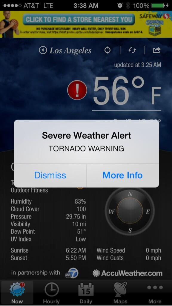 Woke up to a tornado warning in Los Angeles. Grrreat. http://t.co/dtIjWpKR9a