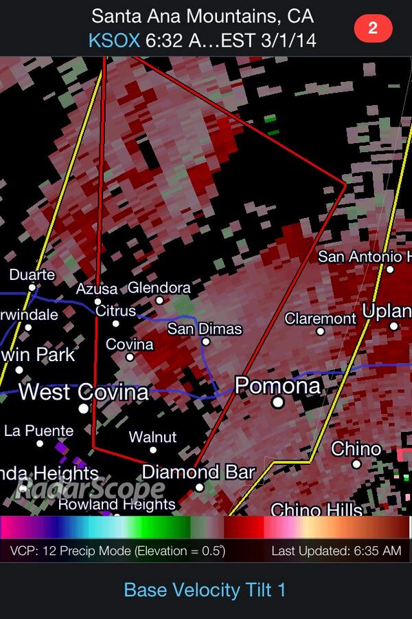 3:36AM PT: Tornado Warning for Los Angeles County. Rotation is moving north just east of Glendora. http://t.co/zB5iD0UA5X