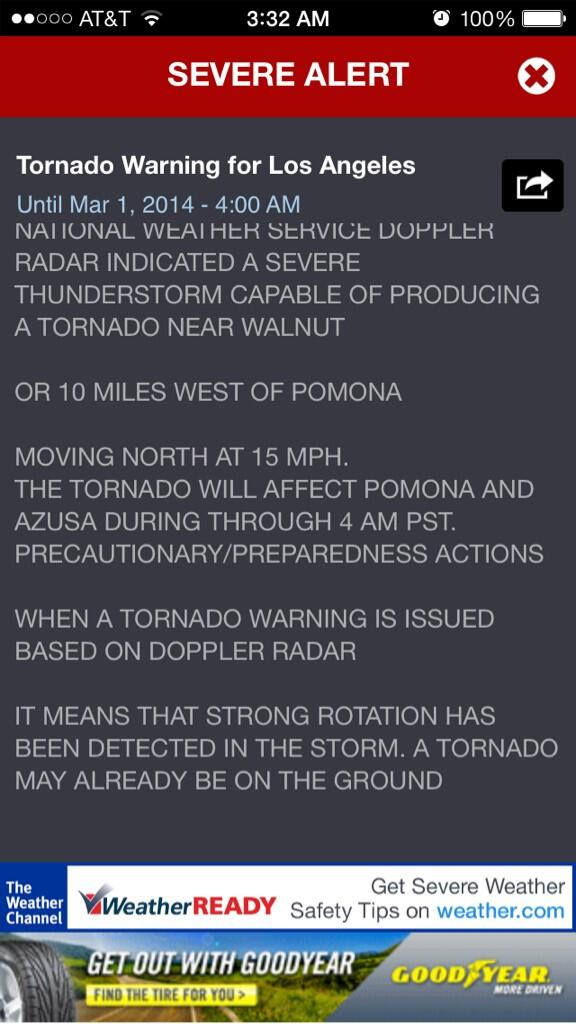 Tornado warning for my city. Oh gosh I feel like I'm back in #OKC. #TornadoWarning #WinterStorm #SoCal http://t.co/MUshwP9cpu