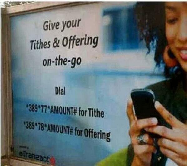 "The ""I left my money at home"" excuse is no longer valid.  Tithe via mobile 😂 😂 😂  (Nigeria, Oyedepo's Church) http://t.co/cabCZLiqPk"