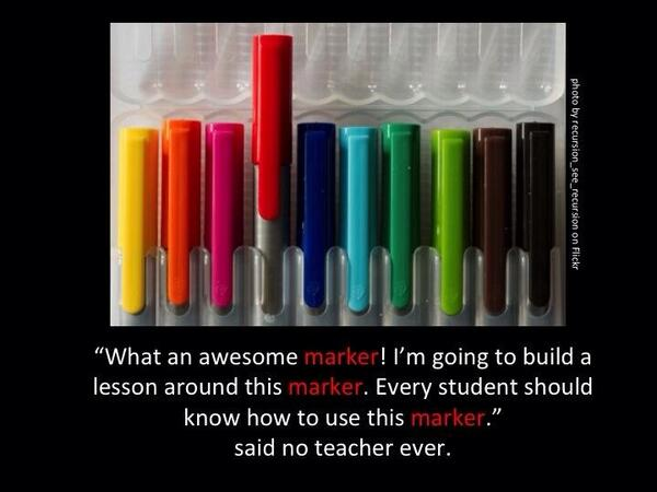 I'd love to see a shift in mindset. Stop teaching tools, apps, games and start facilitating creation! #satchatwc http://t.co/CGRUEuzEQz