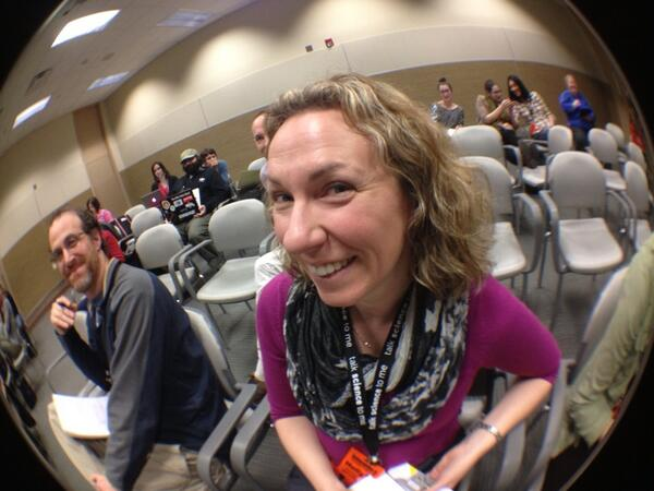Here's @drholly at #sciovideo with a fisheye lens! http://t.co/Qn23axuVRQ