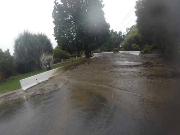 Mudflow along the K-Rail in Madison Fire Area on Friday, Feb 28 in Monrovia. #LArain http://t.co/UioynIan3H
