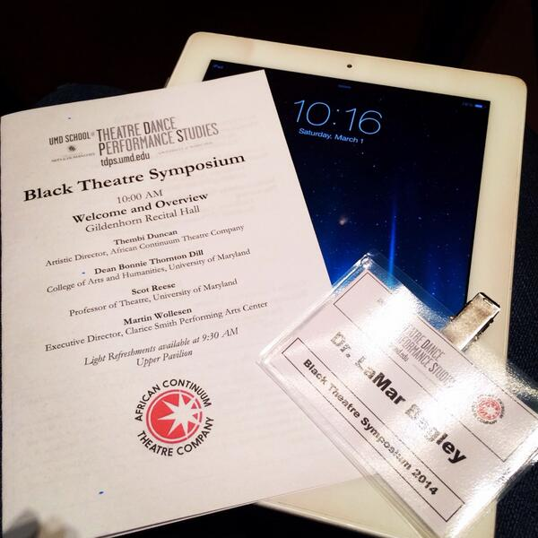 Glad to be a part of our first annual #blacktheatresymposium @ UMD Clarice Center for the Performing Arts http://t.co/zRRrAF3pNU