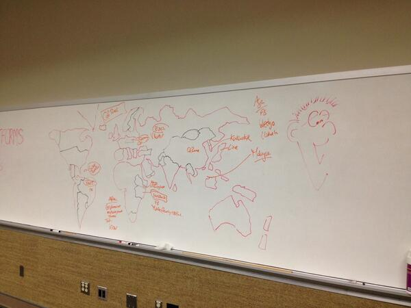 @laurawheelers The #scioPlatforms map of the world. Almost entirely not to scale. May have missed off France #scio14 http://t.co/bNylB7RVxe