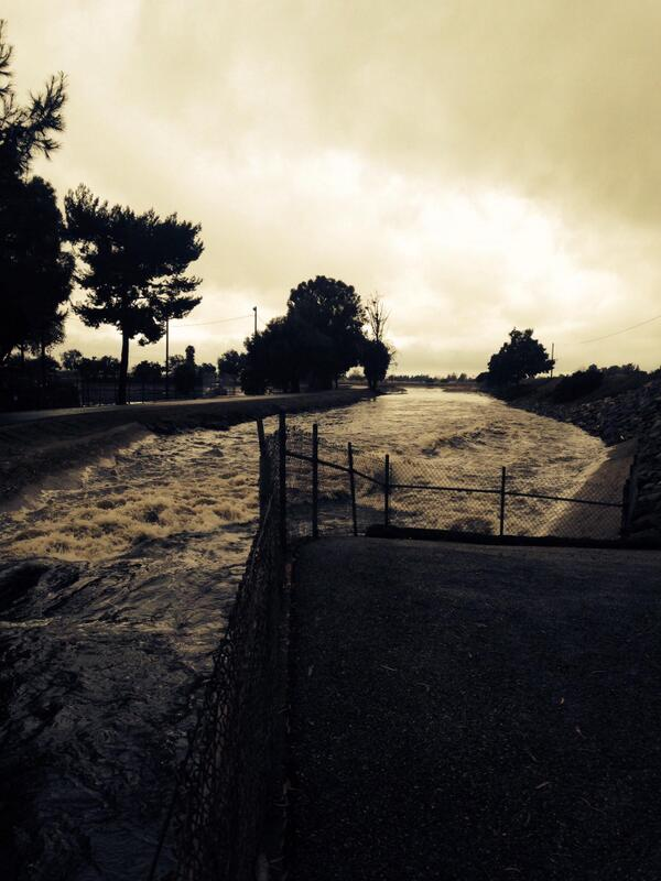 Raging San Gabriel River storm flows diverted to Rio Hondo Spreading Grounds for groundwater aquifer recharge #LARain http://t.co/aNcIUMiRcp