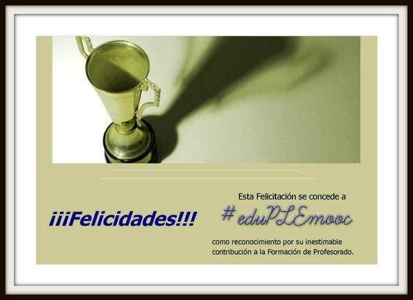 @eduPLEmooc Completamente de acuerdo con @mariafotografa7: #eduPLEmooc MI FELICITACIÓN. GRACIAS!!! http://t.co/gx5Q1JQNxR