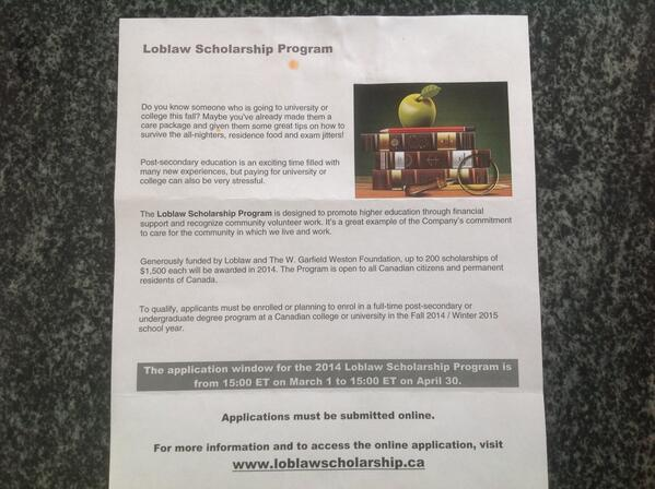 Loblaw Scholarship Program