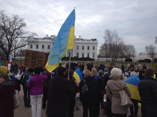 Ukrainian protesters gather in front of White House