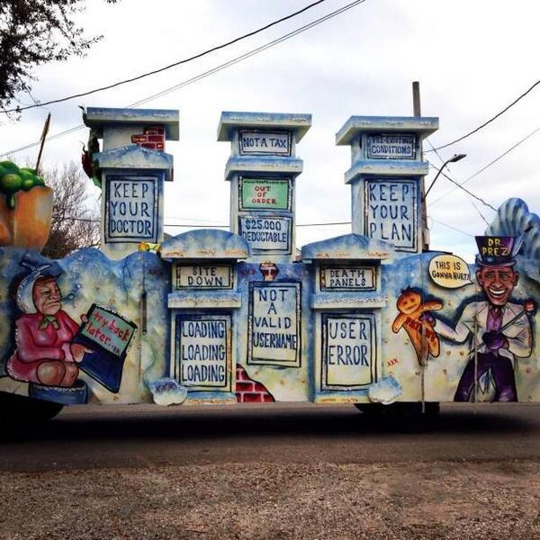 Two anti-ObamaCARE floats spotted at Mardi Gras in liberal New Orleans