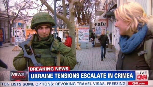 "Nice work @dimagnayCNN reporting from #Ukraine #Crimea, asks unflagged soldier where he's from, answer: ""Russia."" http://t.co/Aw8XUgWkrJ"