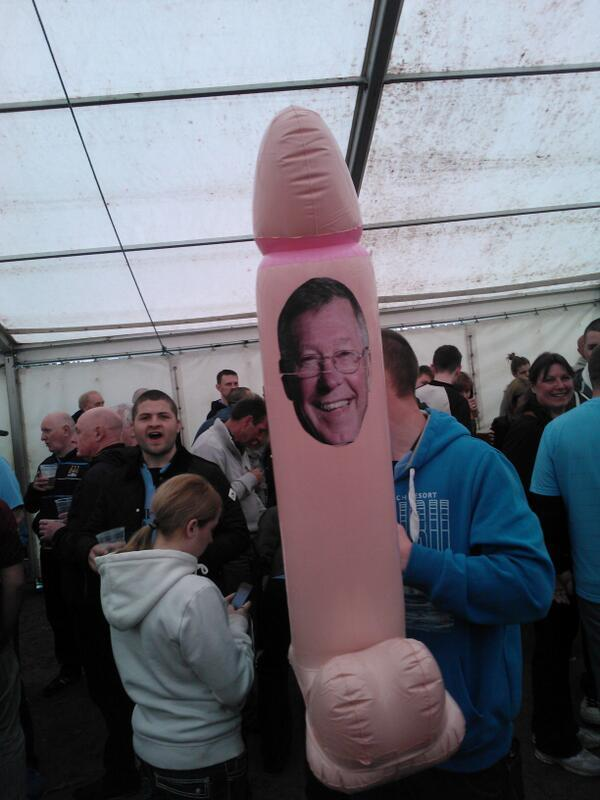 A Man City fan has taken a giant inflatable member with Sir Alex Fergusons face on it to Wembley