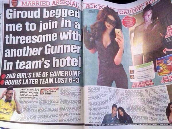 Arsenal striker Olivier Giroud begged beauty to join in a threesome with team mate before match [Sunday Sun]