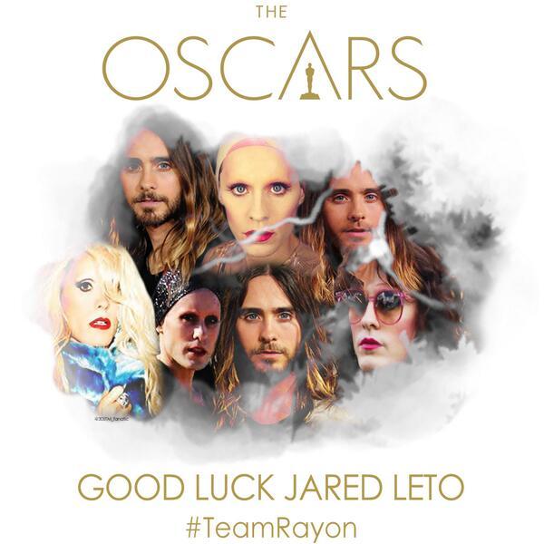 GOOD LUCK @JAREDLETO! #Oscars #TeamRayon http://t.co/G4SZZNt3k1