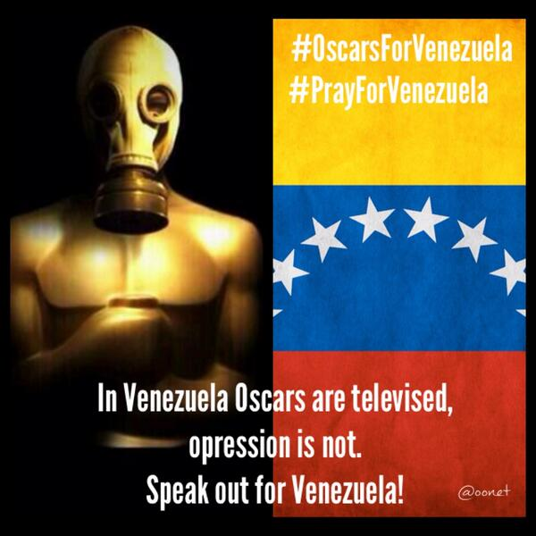 In Venezuela Oscars are televised,opression is not. Speak out for Venezuela!Thanks @iamjamiefoxx #oscarsforvenezuela http://t.co/QdK8uY3cs0