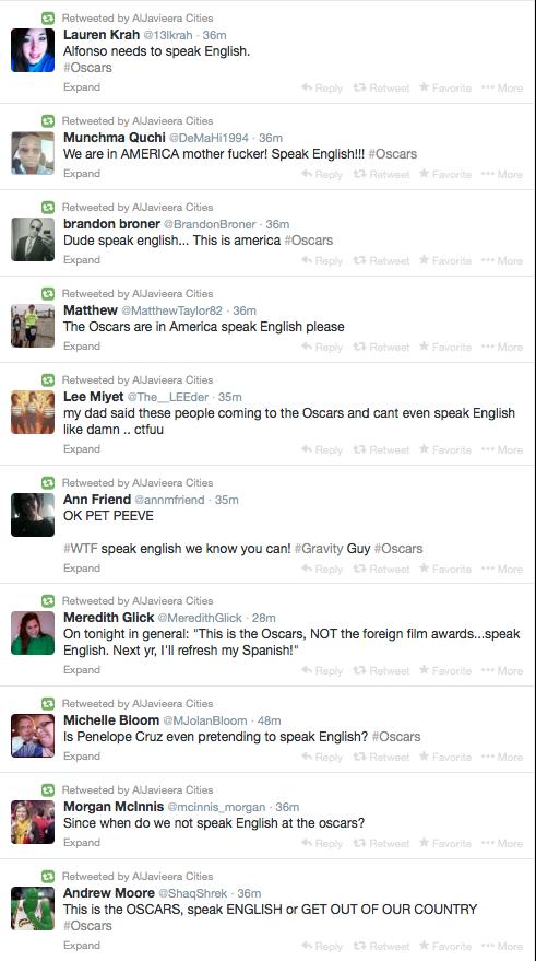 """una pequeña muestra de estupidez en su versión """"prejuicio lingüístico y nacionalista"""" recolectada por @AlJavieera http://t.co/7tgkvSGbAw"""