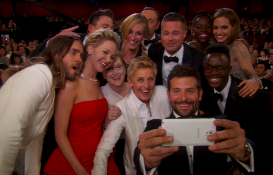EPIC SELFIE! Who made the best face? #Oscars http://t.co/BpPNcmFZLs