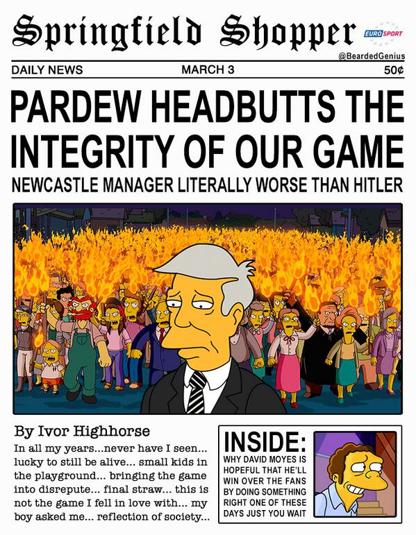 Newcastles Alan Pardew worse than Hitler, says spoof Simpson ized newspaper report [Picture]