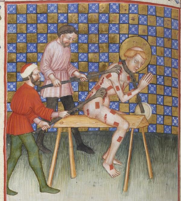 「拷問マニュアル」って本買ったので、それをパラパラしてはヒャーコワイコワイ((((;゚Д゚))ガクブルってしてる。聖人が殉教するシーンと見比べていると楽しい。…楽しい。1385-1390年 BnF Latin 757 f.369v