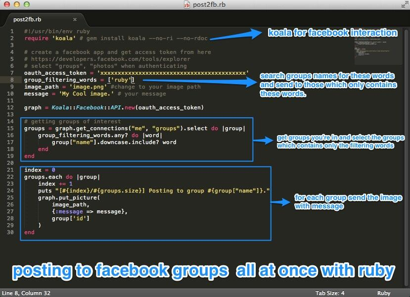 posting to facebook groups all at once with ruby - DZone