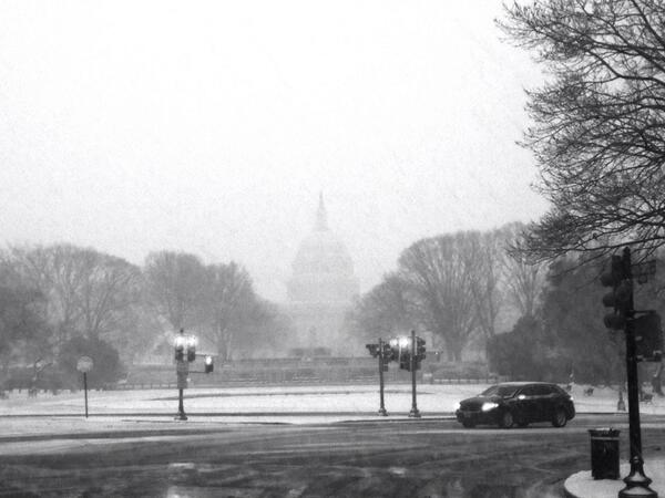 Leaving studio from @morning_joe appearance. Capitol now barely visible in snow. http://t.co/MGkH8Shfdq