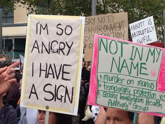 ".@abcnews @ABCNews24  RT ""@timb07: #MarchInMarch #Melbourne ""I'm so angry I have a sign"" #auspol #protest #angry http://t.co/ZSvBR4mKgw"""
