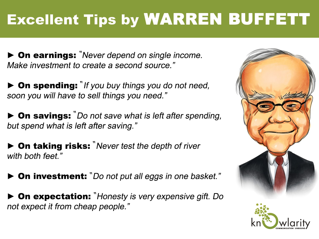 below with six of the best money saving tips from Warren Buffett