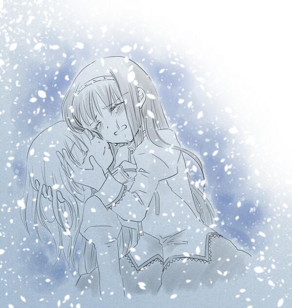 あなたは10分以内に8RTされたら、雪が降る中で眠る相手を、強く抱きしめるまどかとほむらの絵を描きます。 お題がツボ直撃で参った。ほむらがまどかぎゅーとアルまどがほむらぎゅーとで迷ったけど前者で!