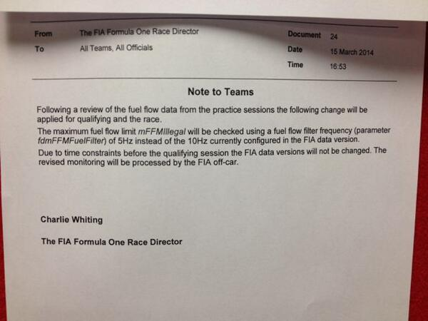 It's not a cut-and-dried case for @danielricciardo – there have been 'issues' with fuel flow monitoring this weekend http://t.co/zct5FzWMLA