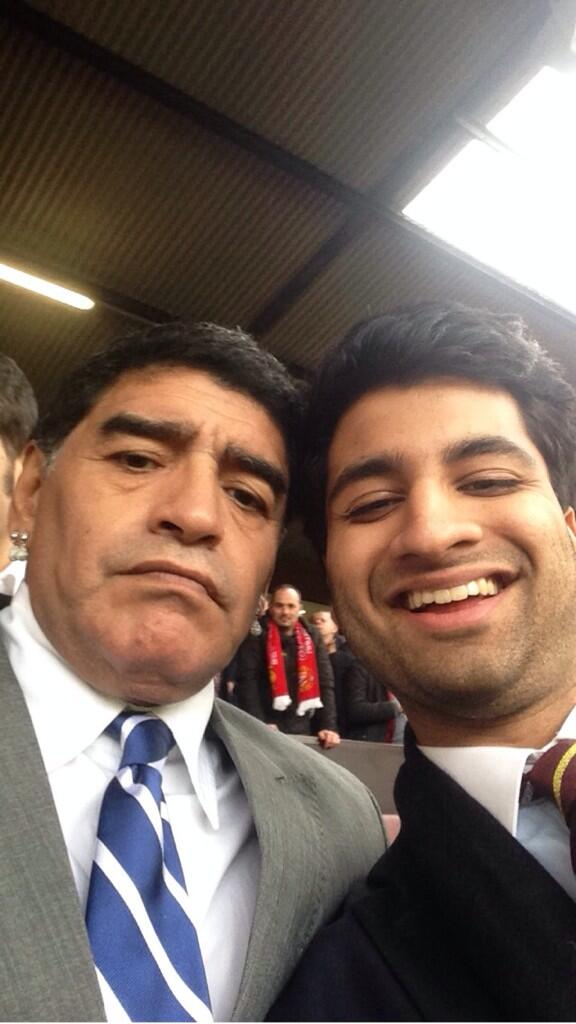 Diego Maradona pulled the most unbelievable grumpy face for a fans selfie at Man United v Liverpool