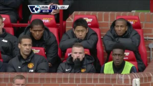 Pic: Manchester United subs sum up the mood at Old Trafford