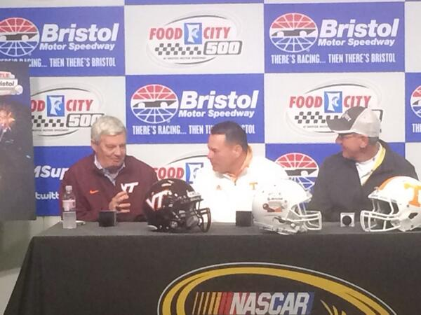 They're here. #VirginiaTech HC Frank Beamer and #Tennessee HC Butch Jones are here for a presser. Details to come. http://t.co/YfSMbc3q08