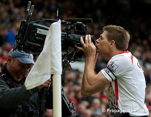 Photo: Sealed with a kiss…Liverpool's captain Steven Gerrard celebrates scoring the second goal against manu #LFC http://t.co/dZUen478eN