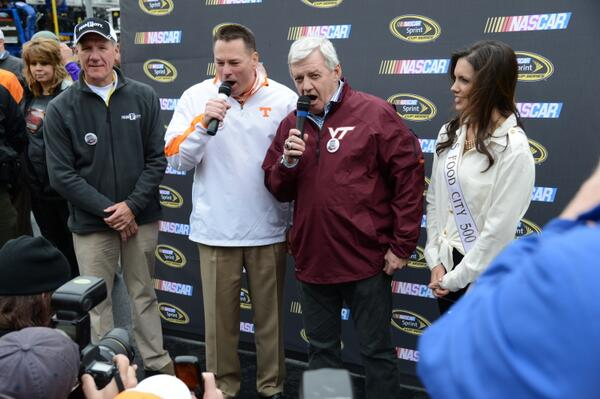 "Here's @UTCoachJones & Frank Beamer with ""Drivers, Start Your Engines"" for #FoodCity500 at @BMSupdates http://t.co/PiB1S75G6X"