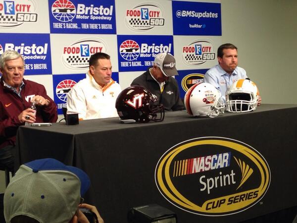 #Nascar ... Virginia Tech coach Frank Beamer & Tennessee coach Butch Jones here at Bristol. #AskMRN @MRNRadio http://t.co/2dHdMQnDaP