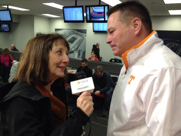Time for @UTCoachJones' interview with @ClaireBLang for @SiriusXMNASCAR talking #BattleAtBristol http://t.co/G4oC1IMdpQ