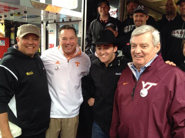 Here's @UTCoachJones and Coach Beamer with @Austindillon3 at @BMSUpdates at #FoodCity500 @nascar http://t.co/WZSDaZ33fA