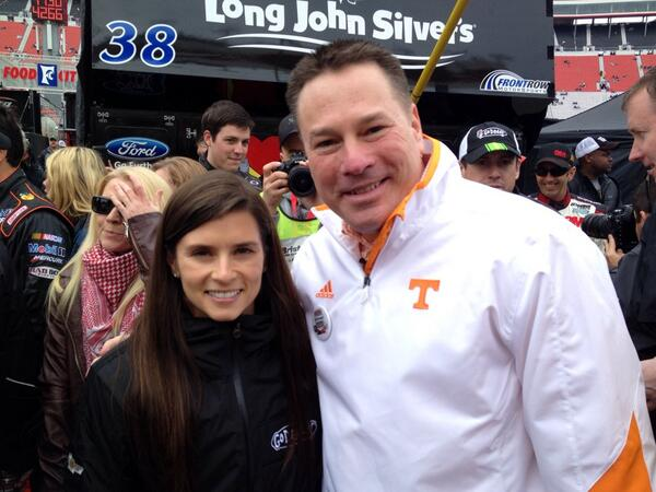 Here's @UTCoachJones with @DanicaPatrick at @BMSupdates at #FoodCity500 http://t.co/itizNeBLcD