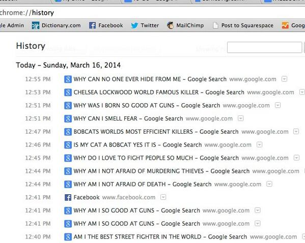 Leaving my browser history open in case anyone in this coffee shop tries to steal my laptop when I'm in the bathroom. http://t.co/IOo89Vypy7