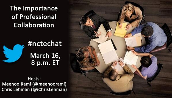 #nctechat is coming up at 8 PM ET. Join us to talk about the importance of professional collaboration http://t.co/t9q7YrChhu