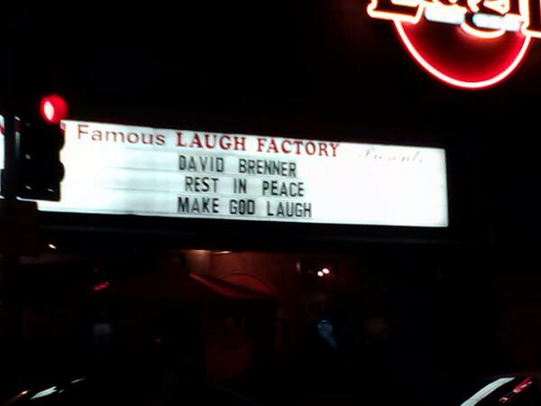 #DavidBrenner (RIP) acknowledged at the Laugh Factory in Hollywood this weekend. http://t.co/cgWI87fp5g