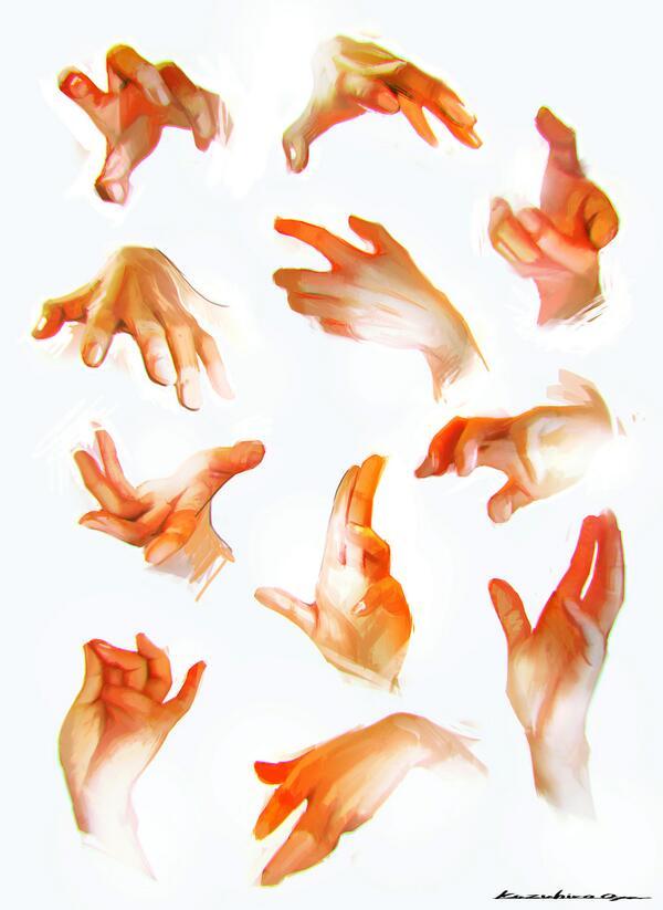 手のポーズと質感のスタディ的なスケッチ描いてみた。手難しい